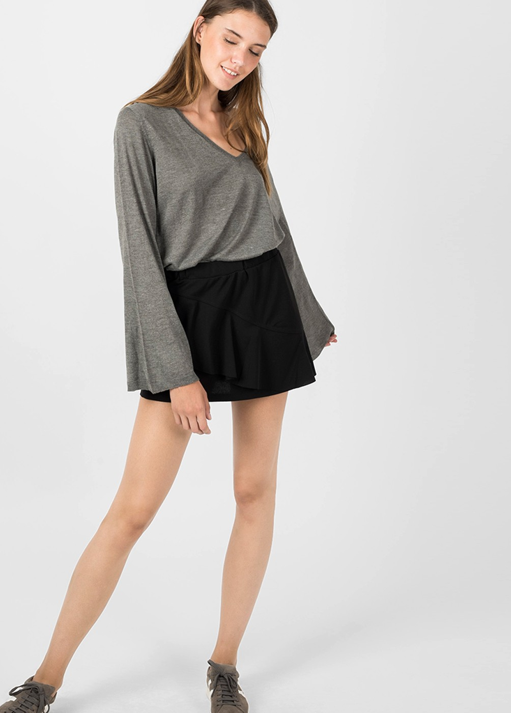 V-NECK FLARED SLEEVE SWEATER