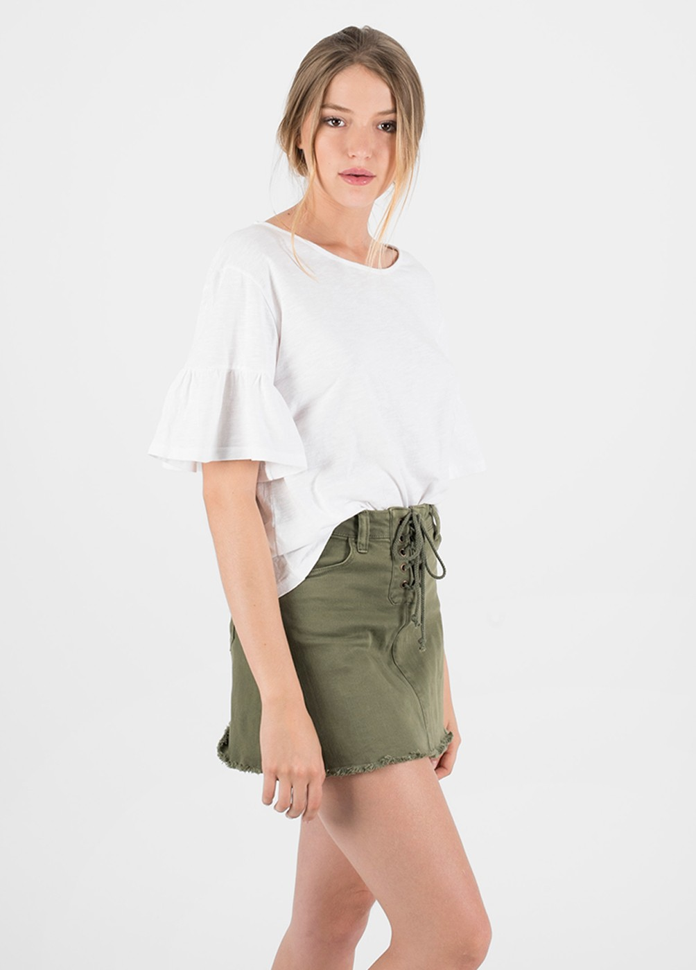 JUDITH FRILLED SLEEVE T-SHIRT
