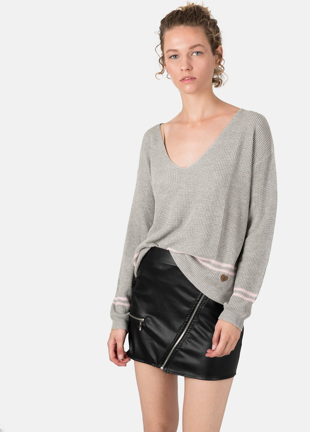 RIAN STRIPED V-NECK SWEATER