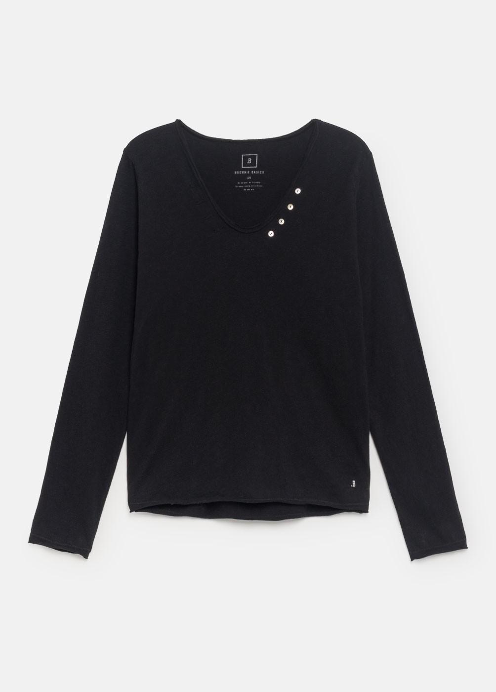 Camiseta básica manga larga botones