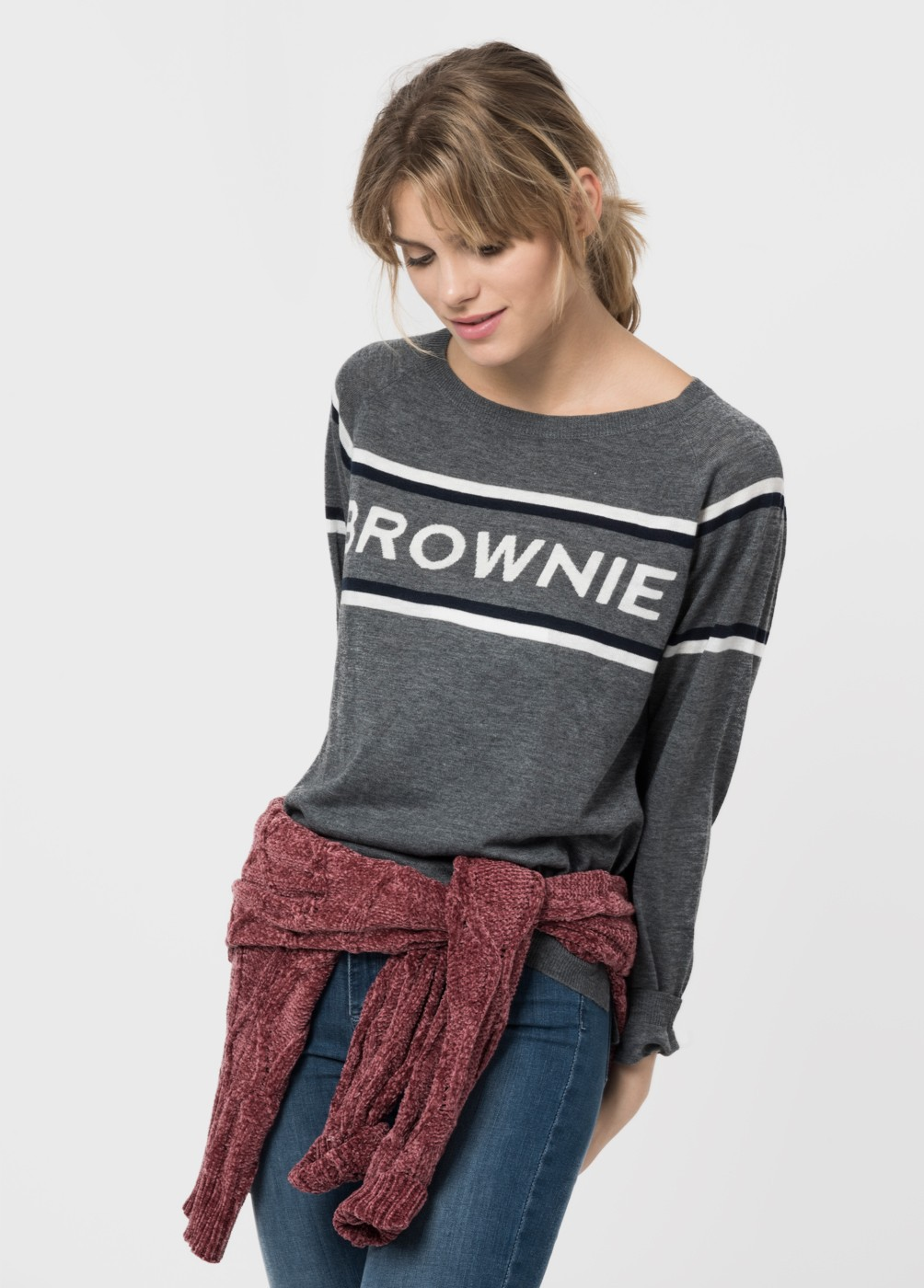 BROWNIE POSITIONAL PRINT SWEATER