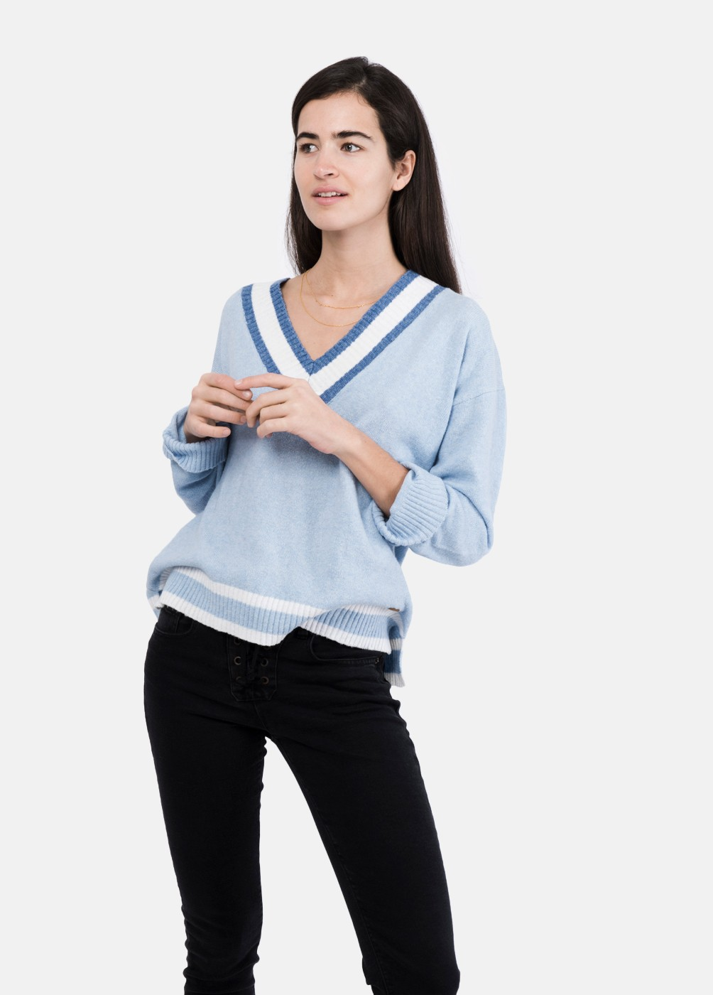 V-neckline striped sweater