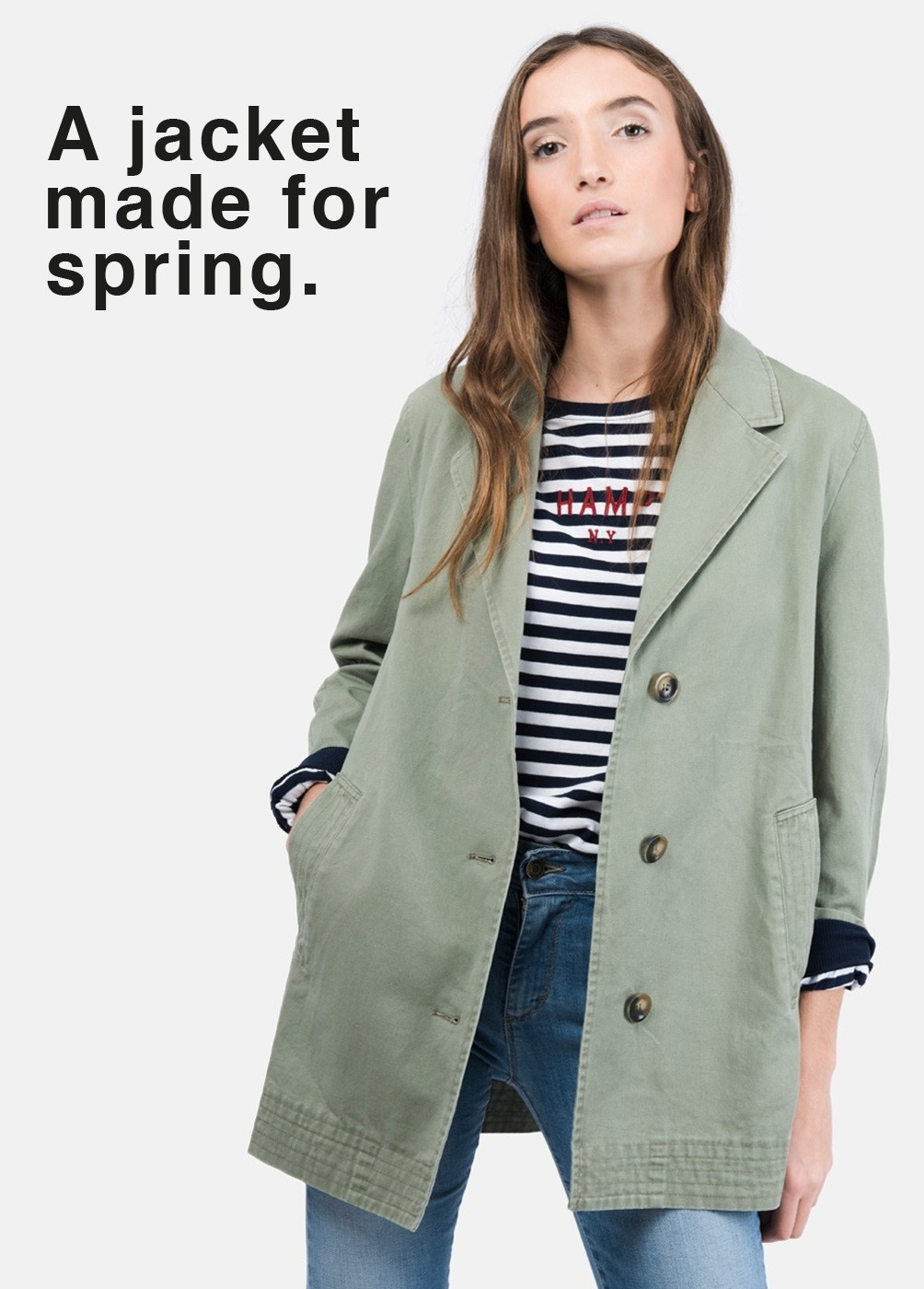 Long parka with lapel