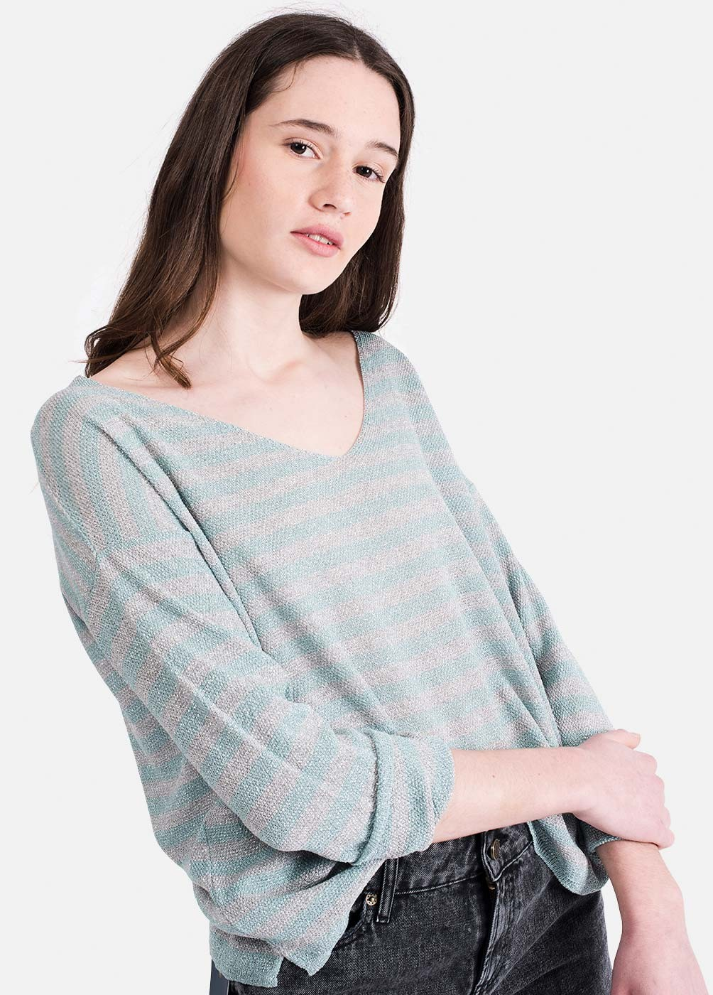 STRIPED CHIC LUREX SWEATER
