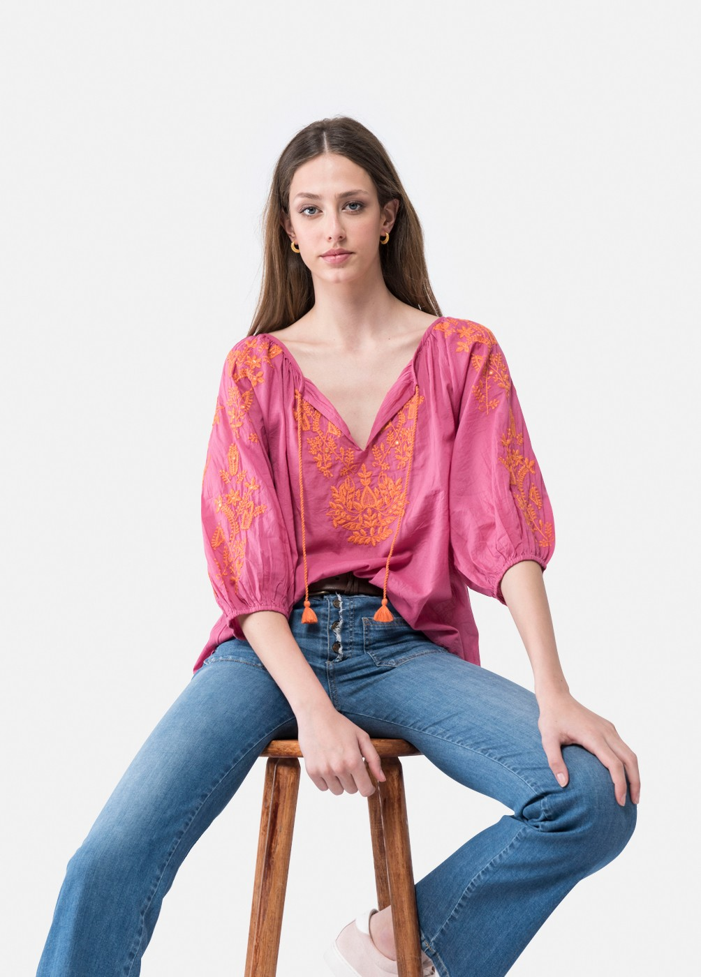 Island embroidered blouse