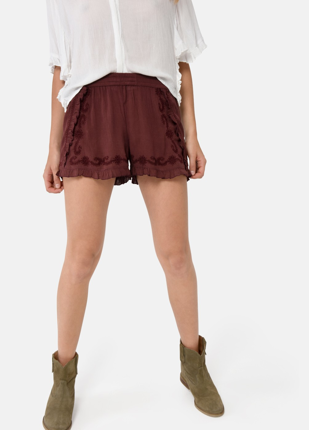SHORT VOLANTES BORDADO CHERRY