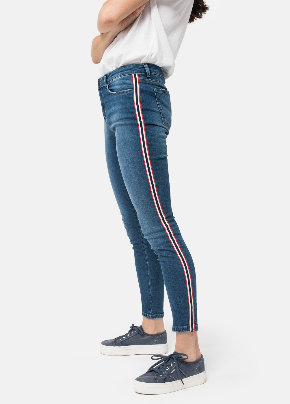 DENIM SIDE STRIPE SKINNY JEANS