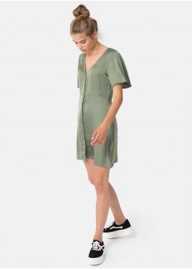Vestido Saten Abotonado