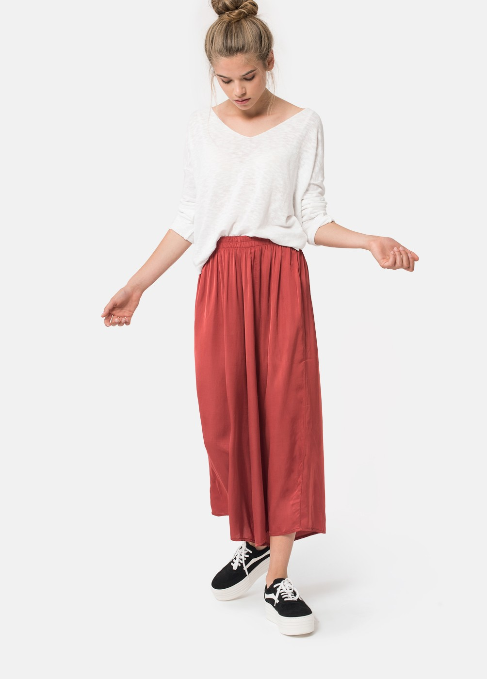 PANTALON CROPPED FLUIDO SATEN NICE SATIN 19206