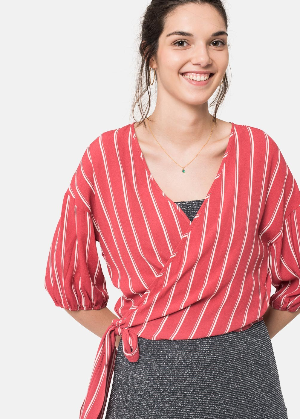 STRIPED KNOTTED BOW BLOUSE