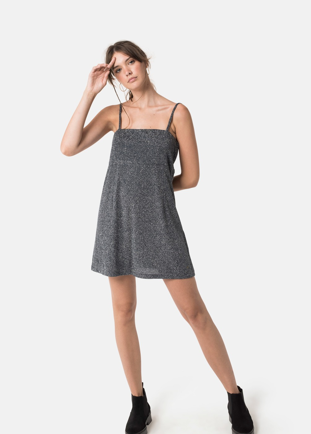 INDIA V-NECK LUREX DRESS