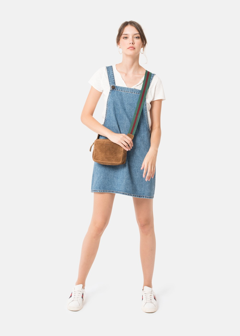 PEARL DENIM DUNGAREE SKIRT