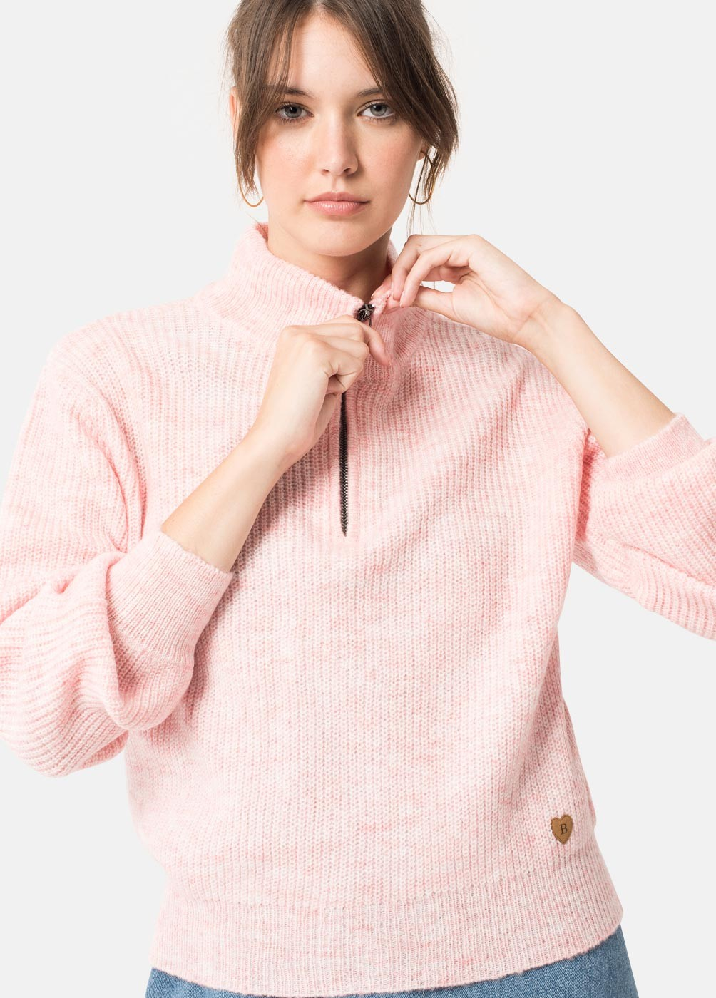 FLORA HIGH NECK ZIP COLLAR JUMPER