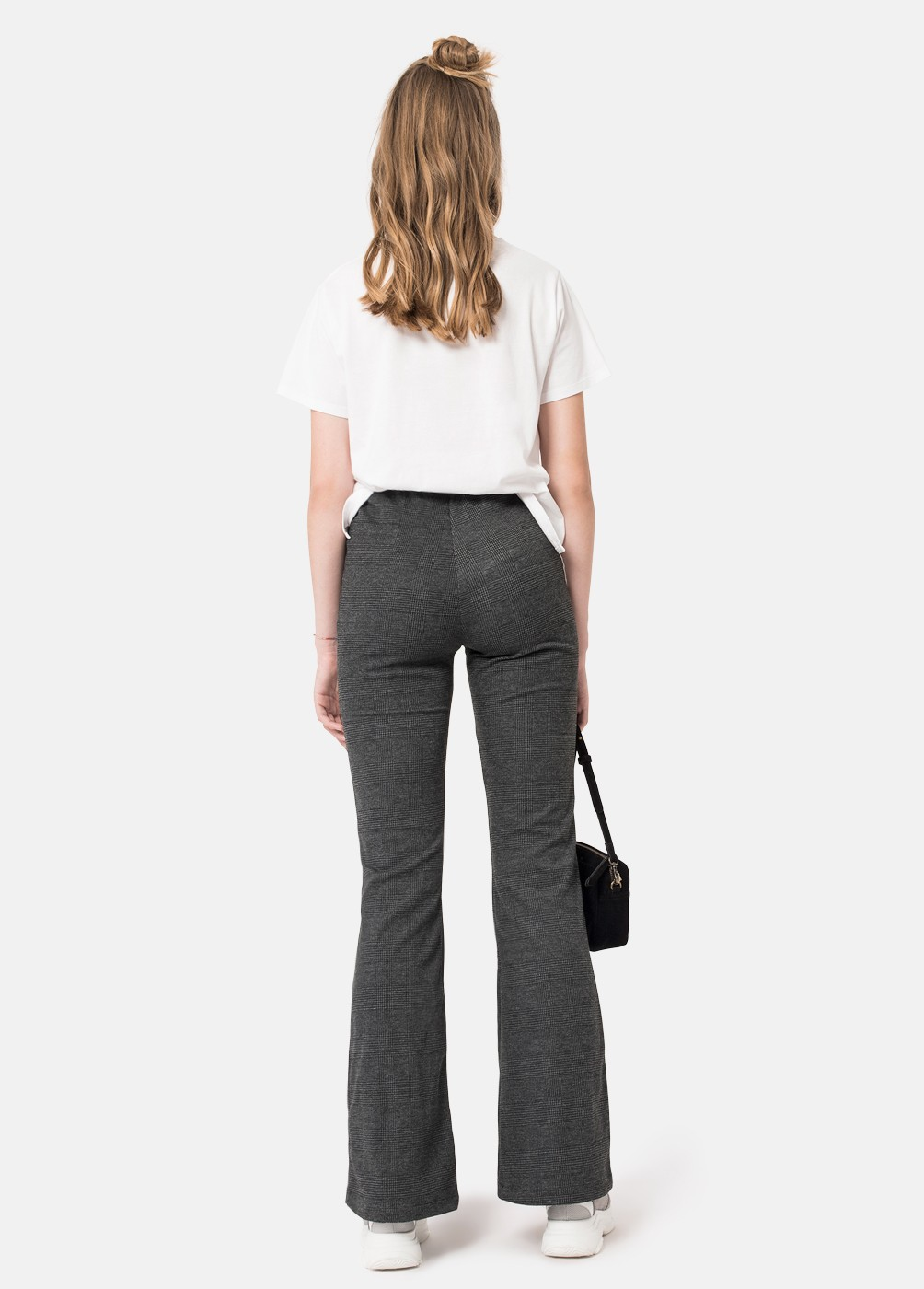 SIMONA CHECKED BELL-BOTTOM TROUSERS