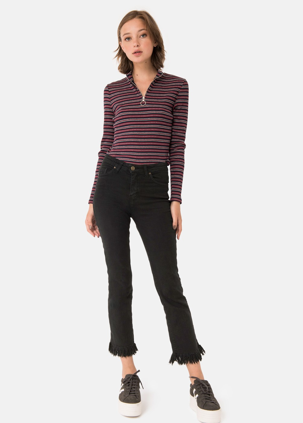 VALLE LOW-RISE DISTRESSED TROUSERS