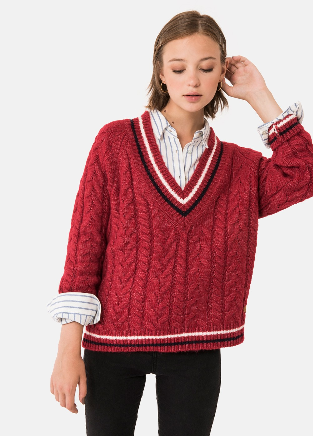 MARIAM PLAITED STRIPED V-NECK JUMPER