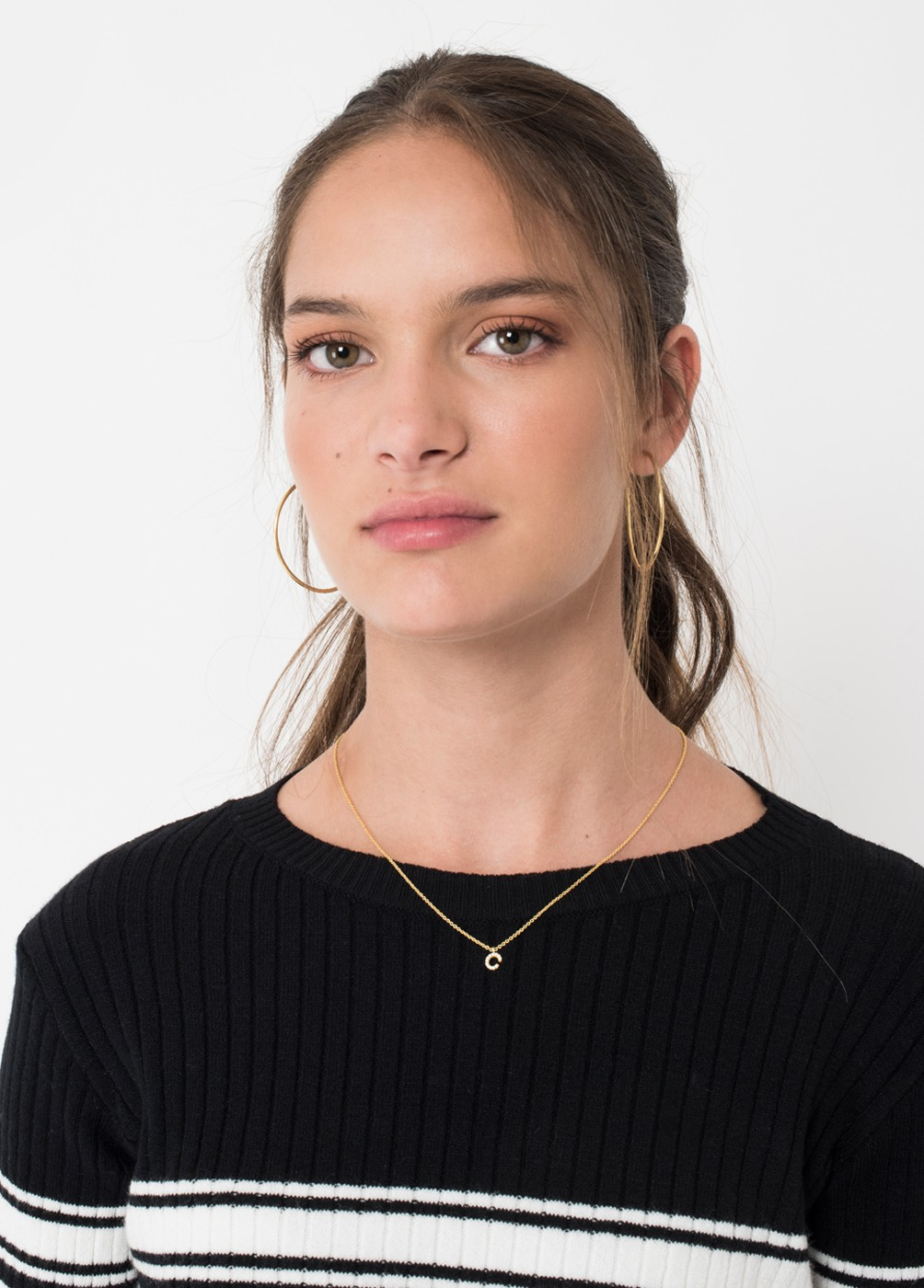 ZIRCONIA NECKLACE WITH INITIAL