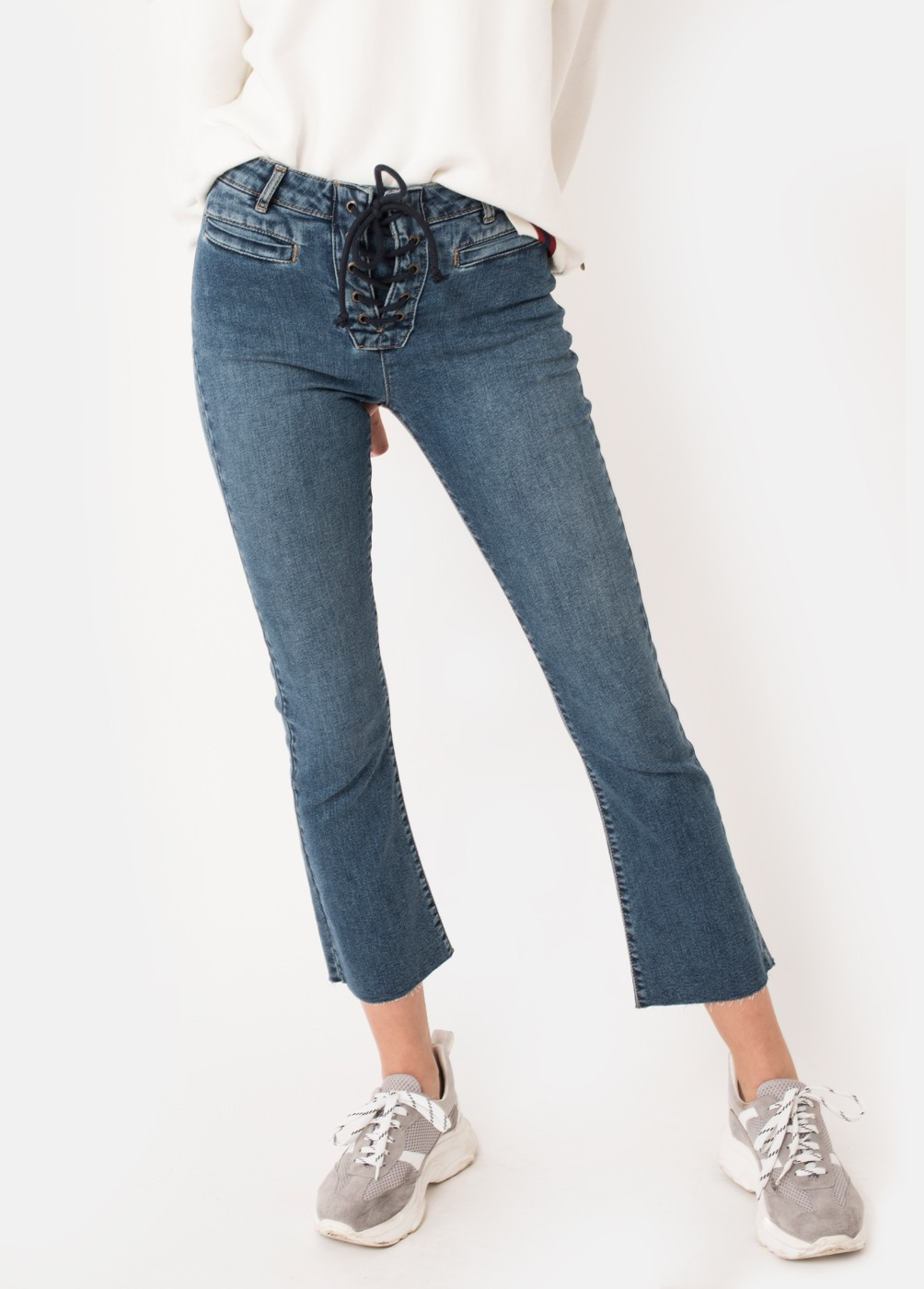 BERGAMOT CROPPED BELL-BOTTOM JEANS