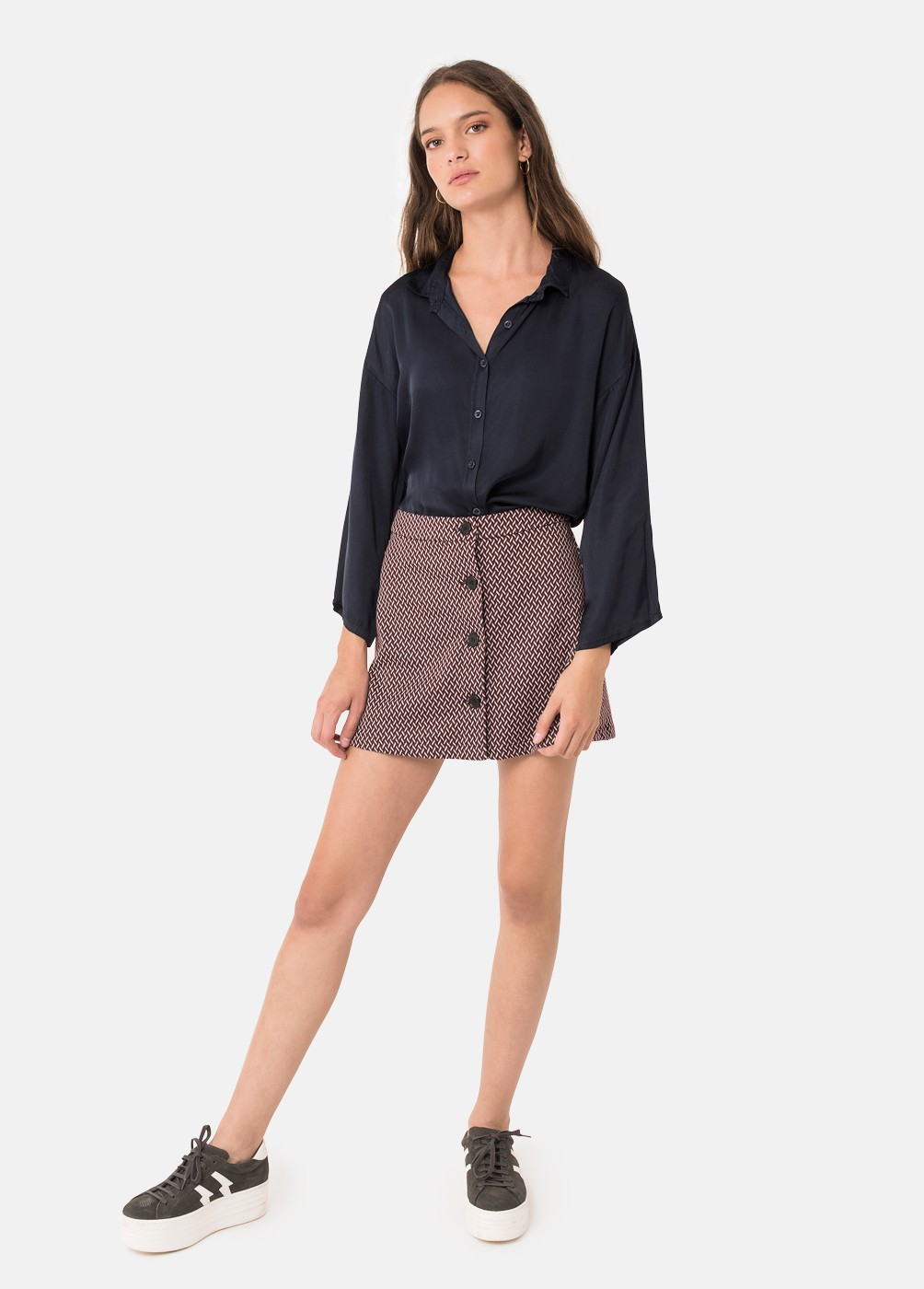 JACQUARD JACK BUTTON SKIRT