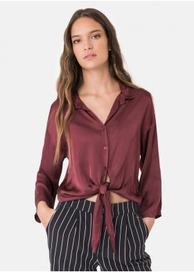 GEMINIS KNOTTED SATIN BLOUSE