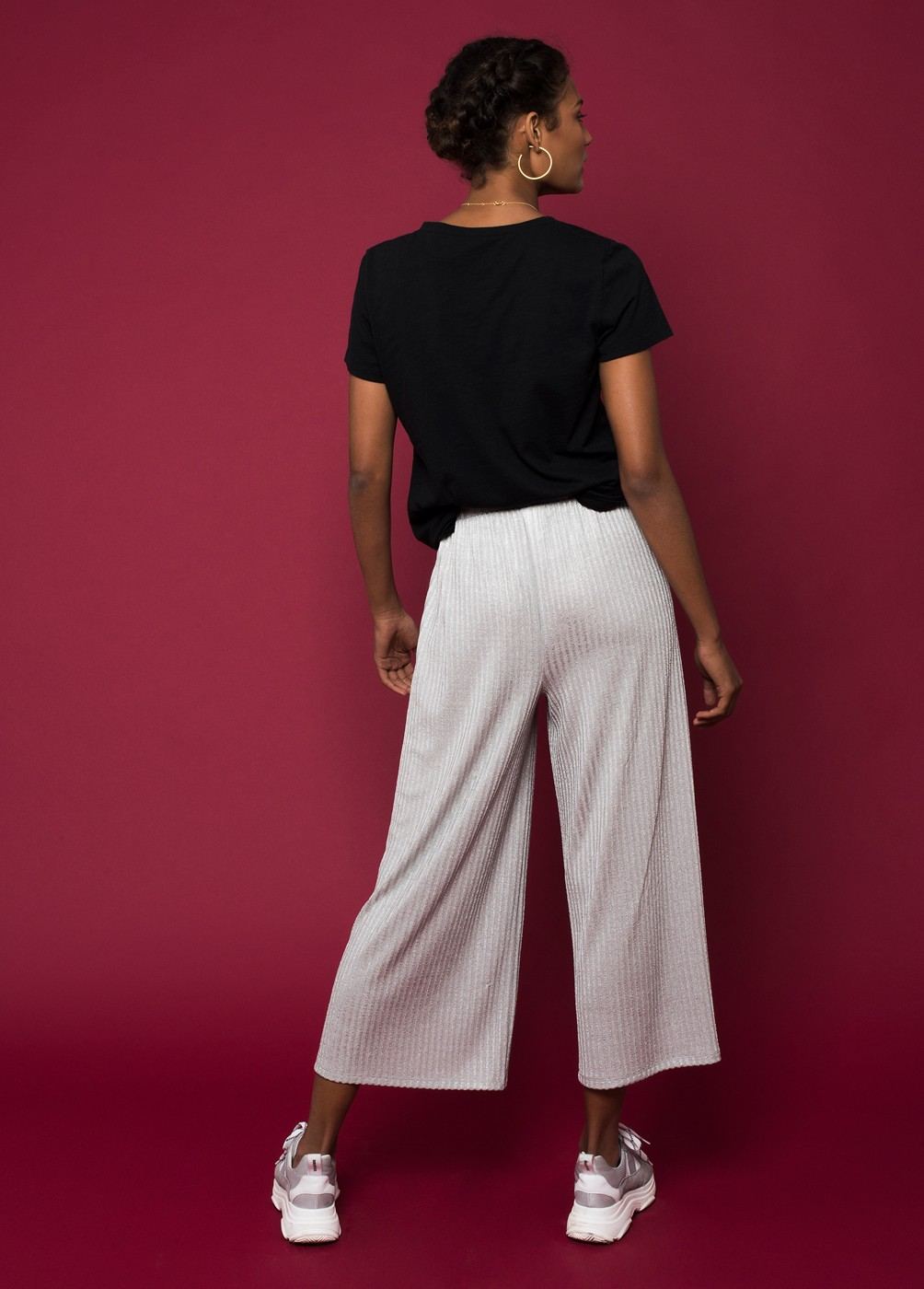 JOSIE RIBBED LUREX CROPPED TROUSERS