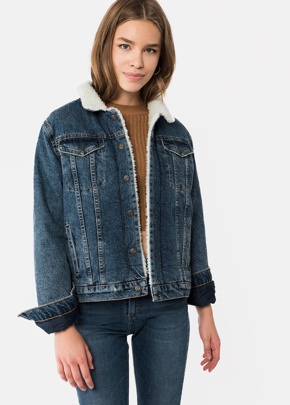 JACKIE DENIM SHEARLING JACKET