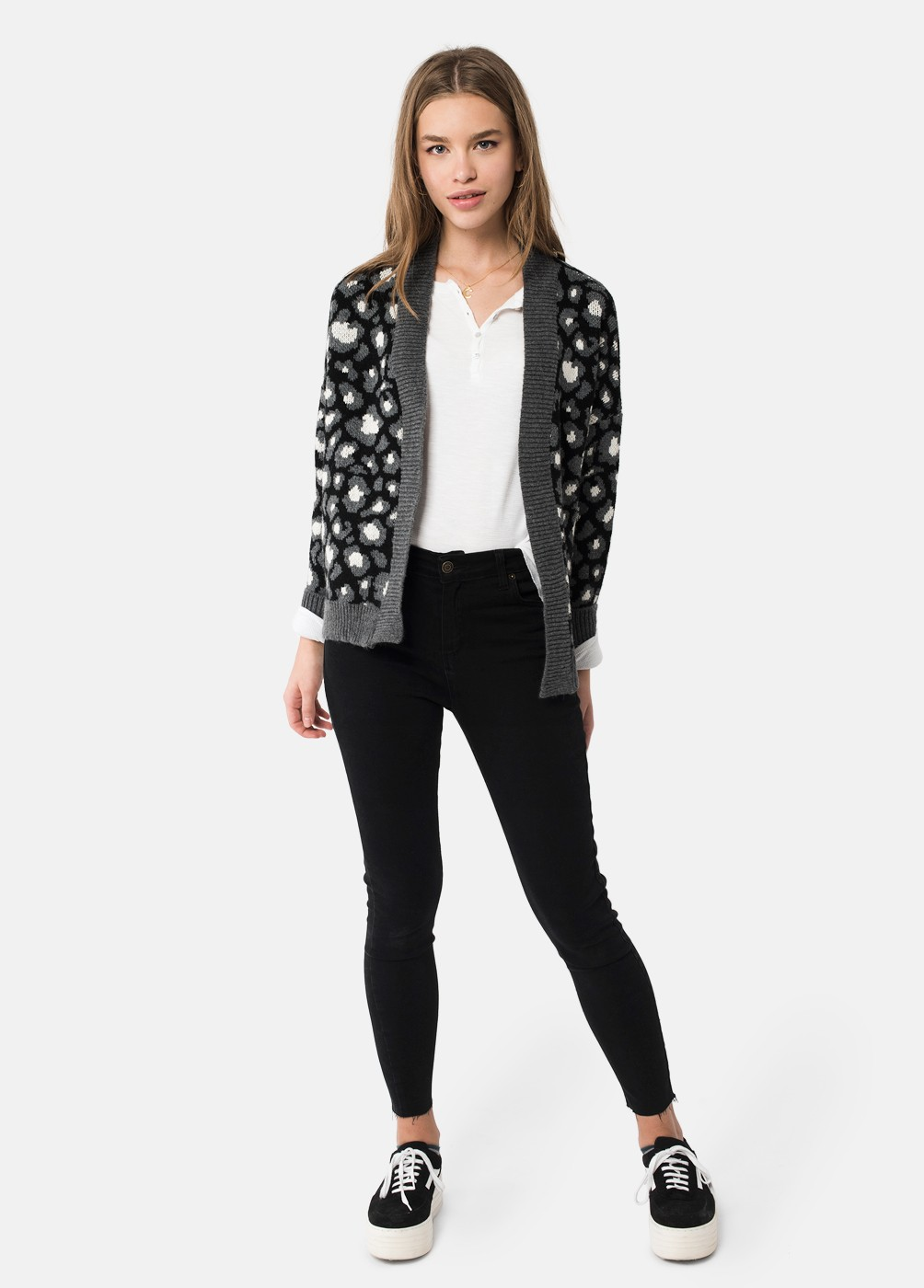 LEOPARD PRINT KNIT JACKET