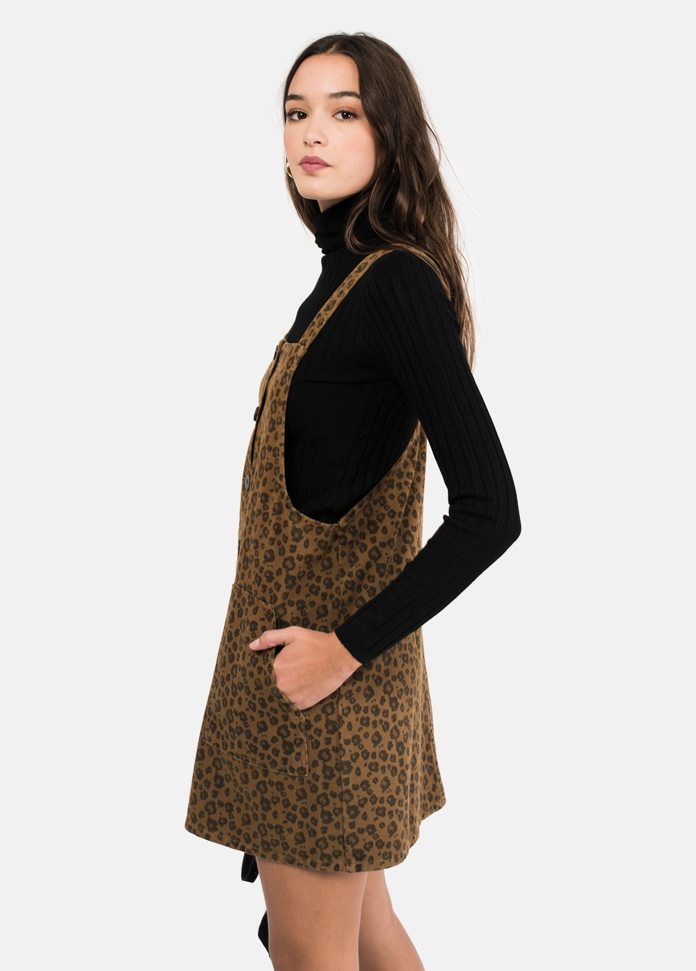 CANYON LEOPARD PRINT DUNGAREE DRESS