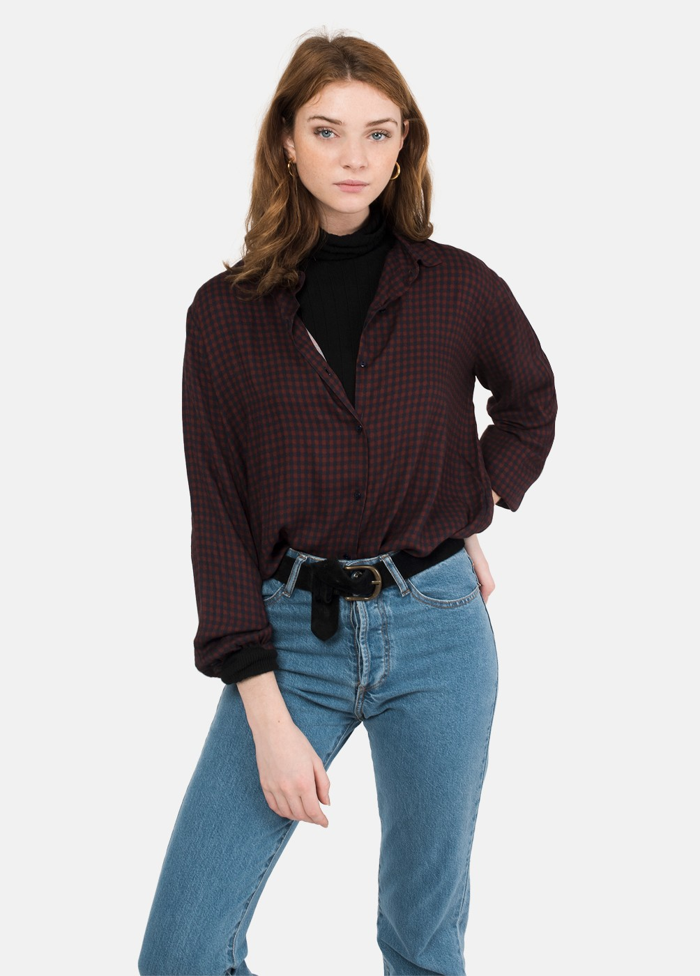 AQUA CROPPED GINGHAM SHIRT