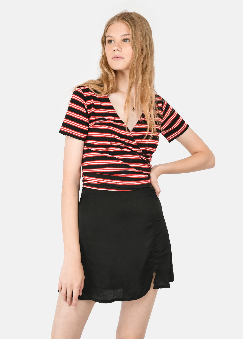 Dance Ribbed T-Shirt With Tie Detail