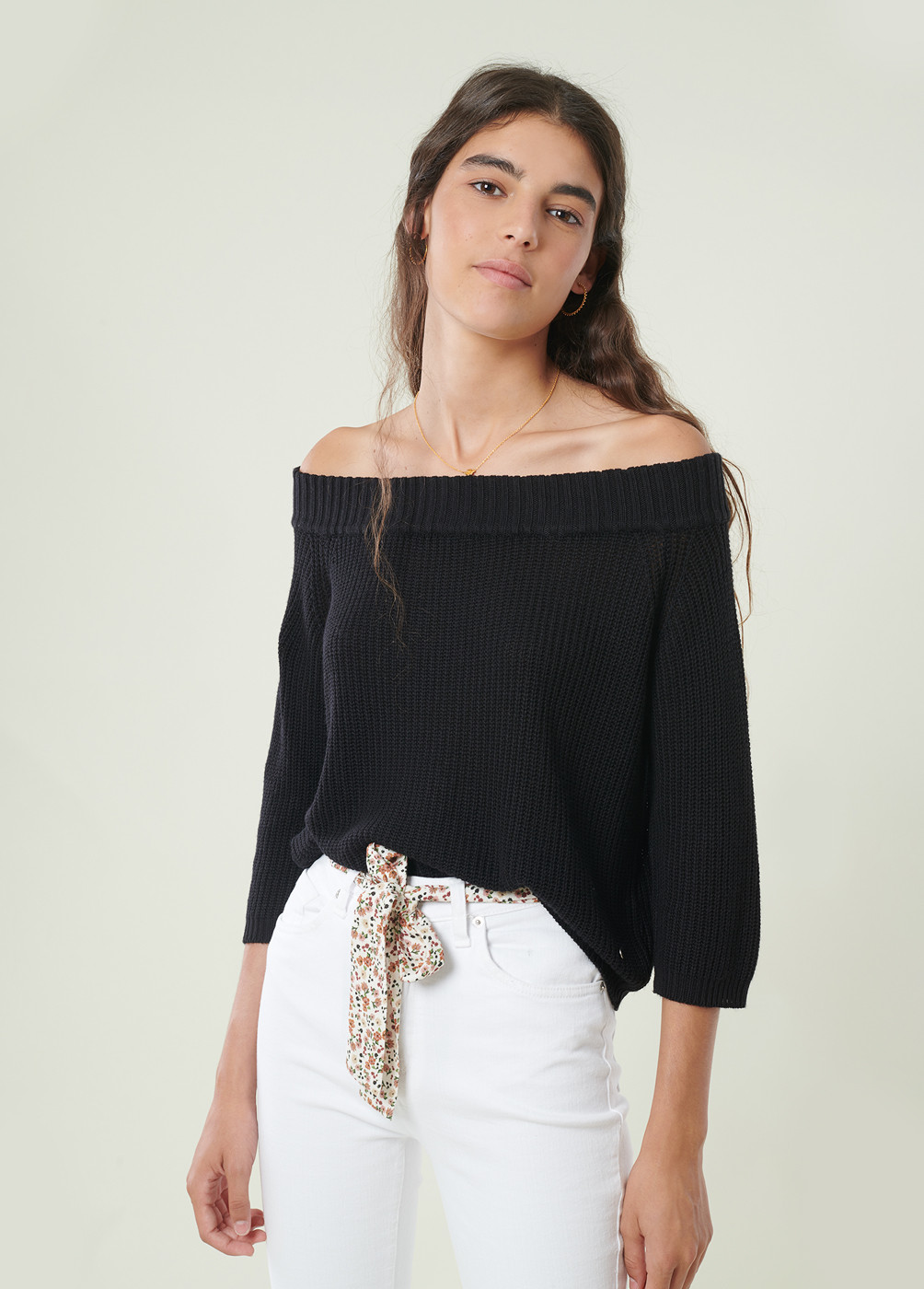 Jersey Off Shoulder Punto Hombros Descub
