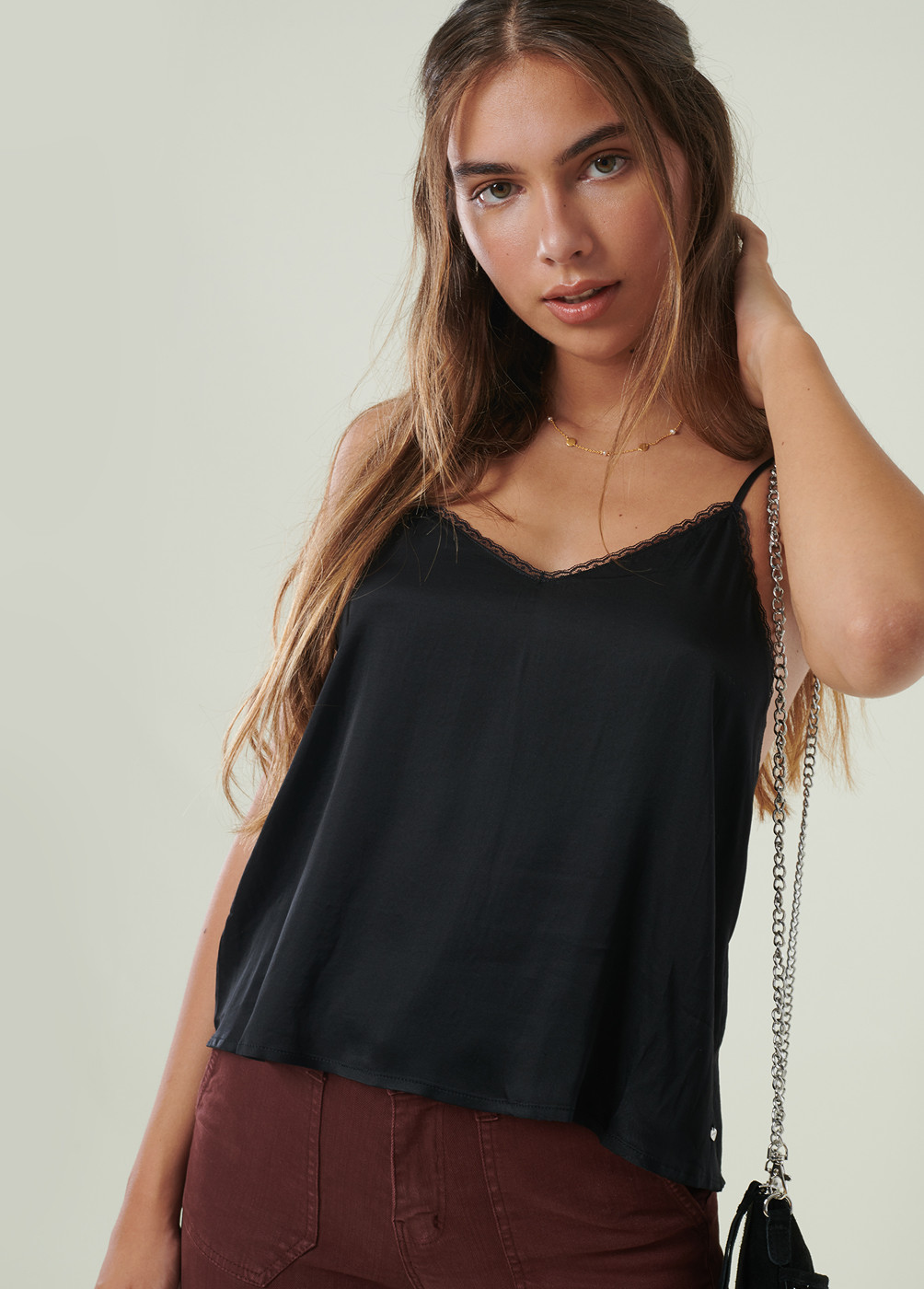 TOP ALEXIA CETIM MINI RENDA