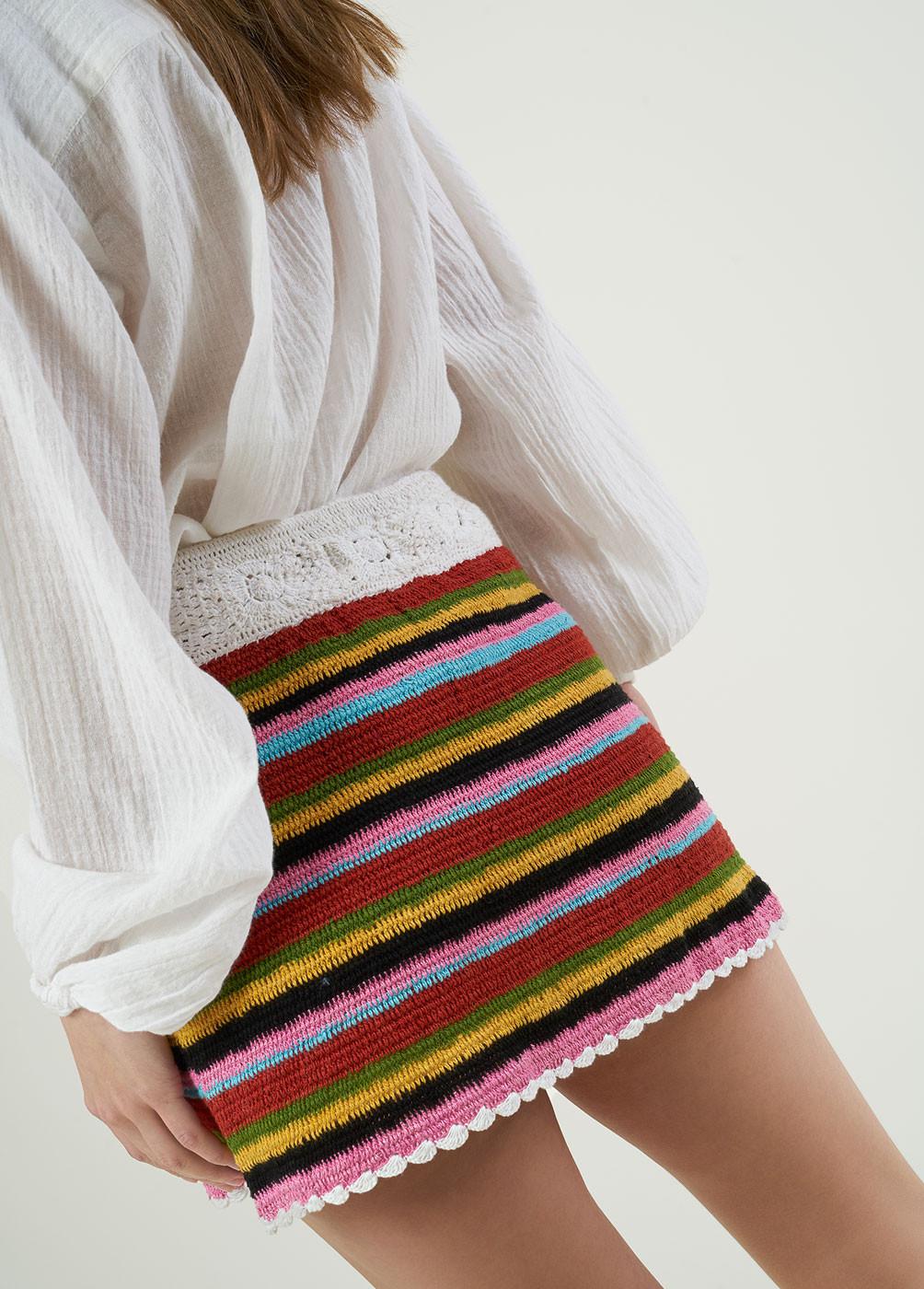 Falda Cuba Crochet Rayas  - 3