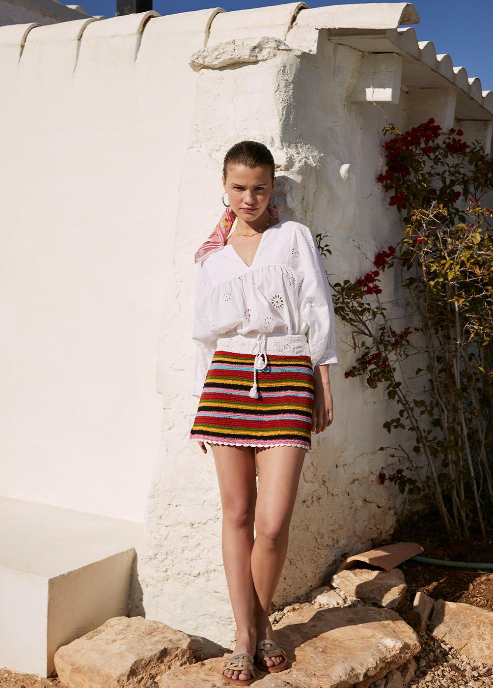 Falda Cuba Crochet Rayas