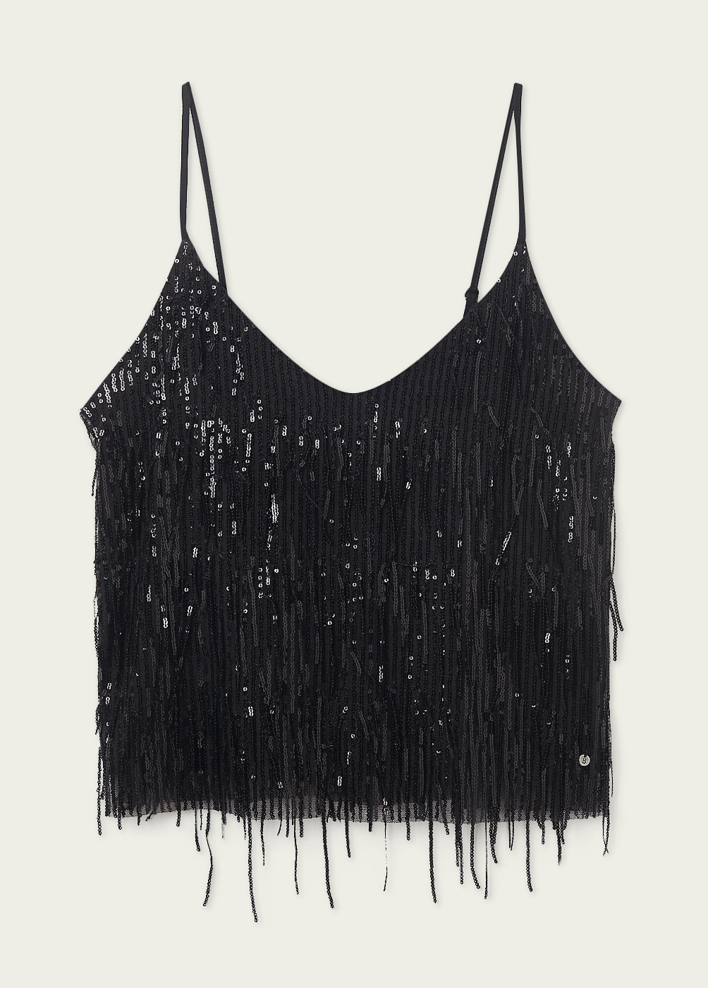 CHLOE TOP WITH SEQUINNED FRINGING