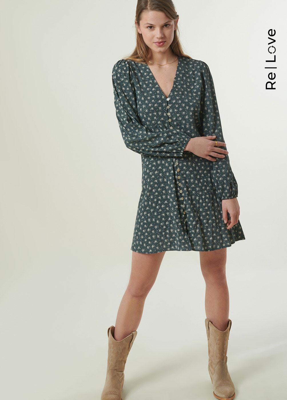 ADRI FLORAL PRINT BUTTON-FRONT DRESS