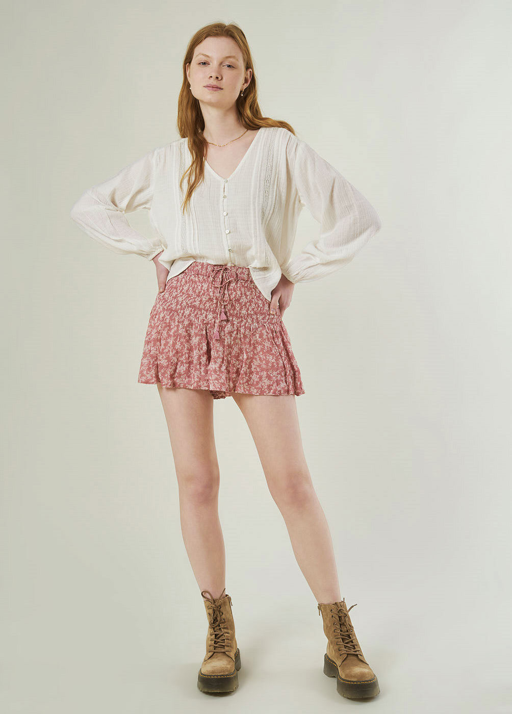 LUNA SMOCKED SHORTS