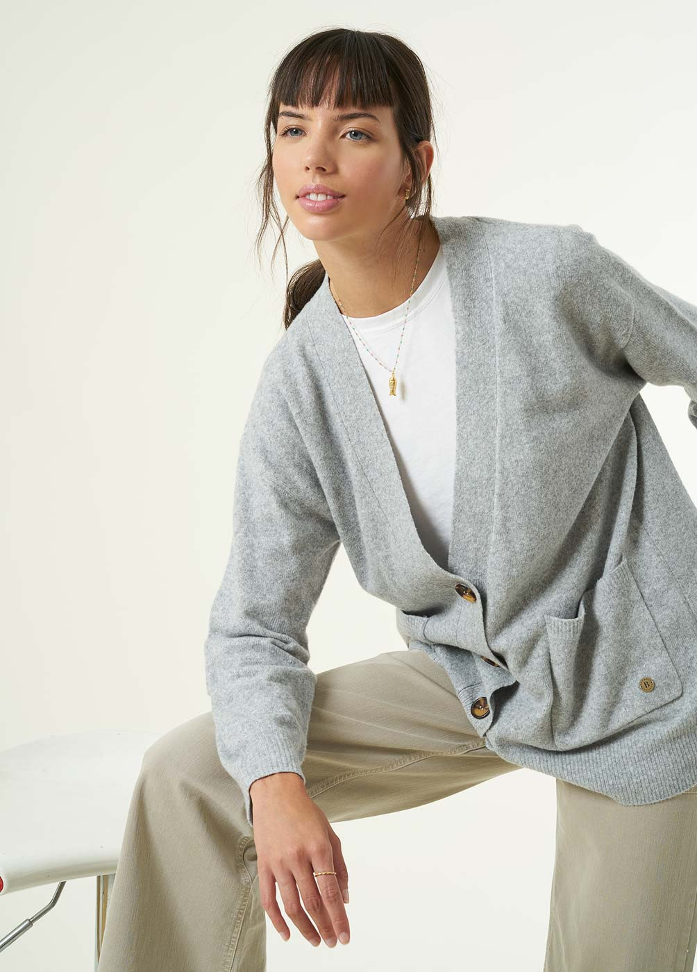 DUMBO KNITTED BUTTON POCKET CARDIGAN